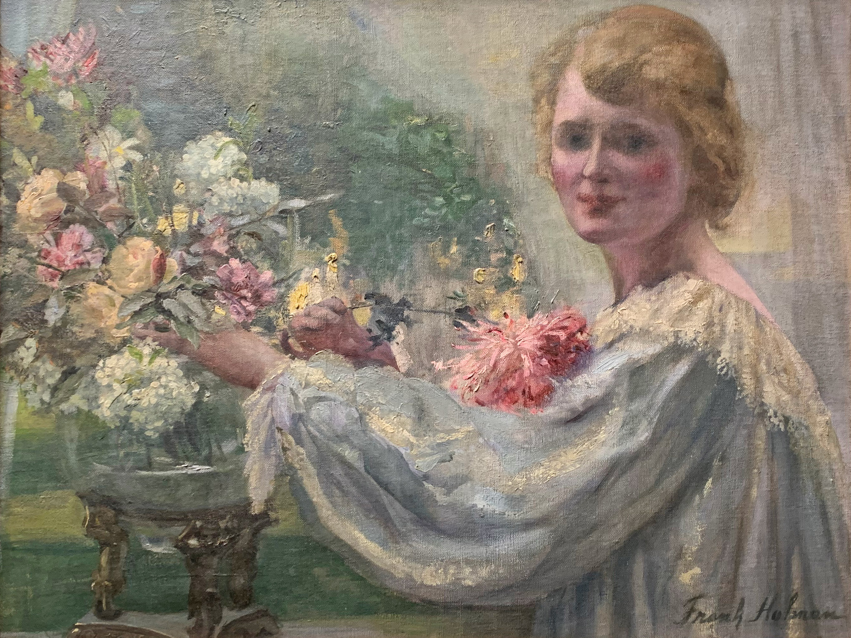 Girl with Flowers by Frank Holman